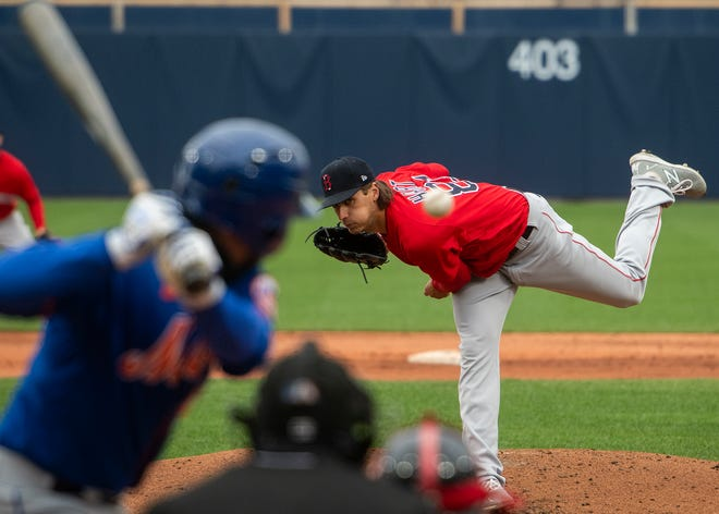 Kyle Hart delivers a pitch during Saturday's sim game against the Mets at the Red Sox alternate training site at Polar Park.