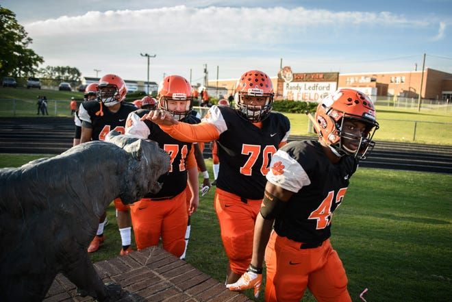Jack Britt at South View in the first round of the NCHSAA 4-A state football playoffs on Friday, April 16, 2021.