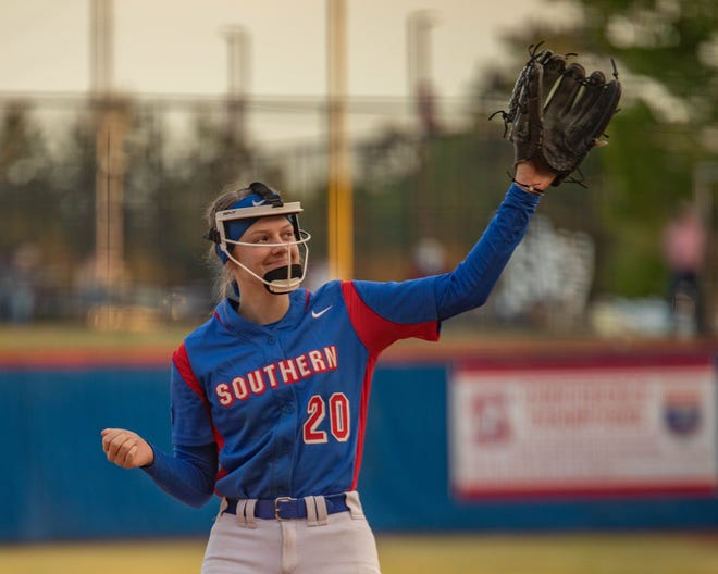 Southern Alamance senior pitcher Isley Duggins waves to the crowd against Southeast Guilford during Senior Night on Friday.