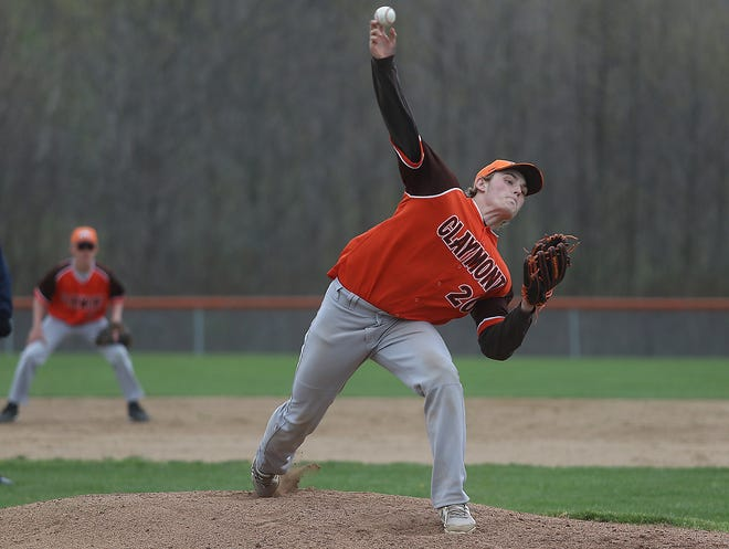 Claymont starting pitcher Brody Rauch throws a pitch in the game with Malvern Friday.