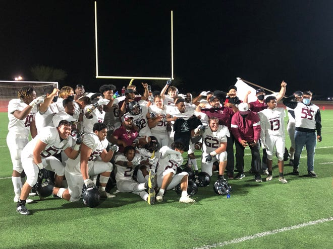 The Riverside Prep football team poses for a photo after claiming the program's first-ever Cross Valley League title with a 35-14 victory over Trinity Classical Academy on Friday.