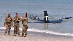 The Valiant Air Command's TBM Avenger made an emergency landing in the ocean just offshore south of the former Officer's Club at Patrick Space Force Base during the Cocoa Beach Air Show Saturday. The pilot was not injured.