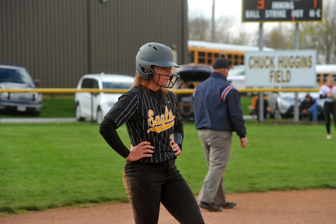 Colonel Crawford's Kaylyn Risner waits on third base.