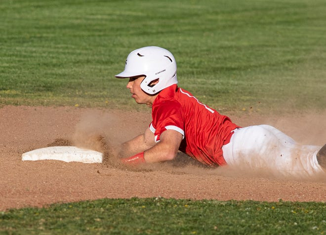 Westfall's Trent Walters slides into second base during a game against Zane Trace on April 16, 2021. Westfall defeated Zane Trace 9-4.