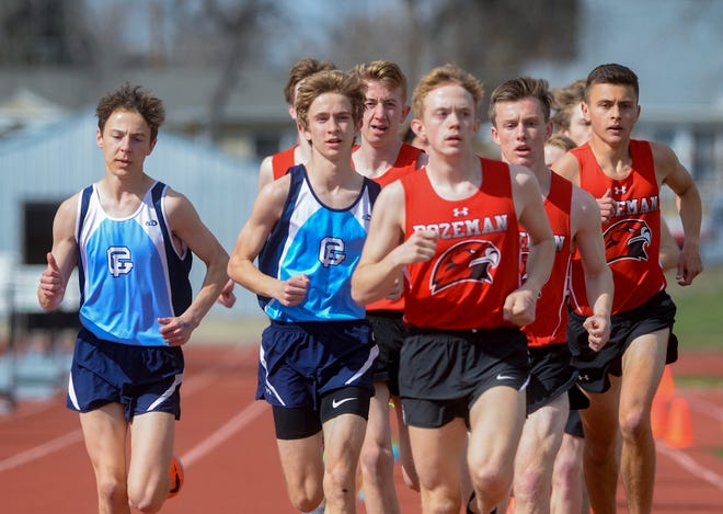 Great Falls High's Ryan Harrington, second from left, finished first in the 3200m run during Friday's dual track meet against Bozeman.