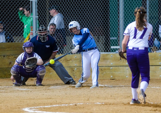 Great Falls High's Stephanie Jablonski makes contact in Friday's softball game against Butte.