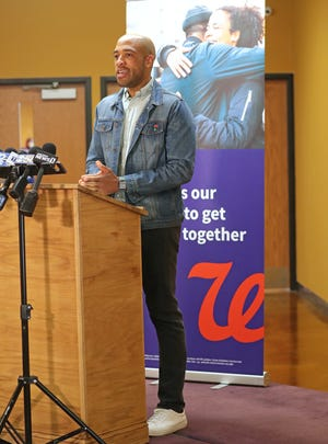 Lt. Gov. Mandela Barnes speaks during the Walgreens COVID-19 vaccine equity clinic at Destiny High School, 7210 N. 76th St., on Saturday, April 17. The clinics are part of Walgreens COVID-19 Vaccine Equity Initiative to accelerate equitable access for underserved communities.