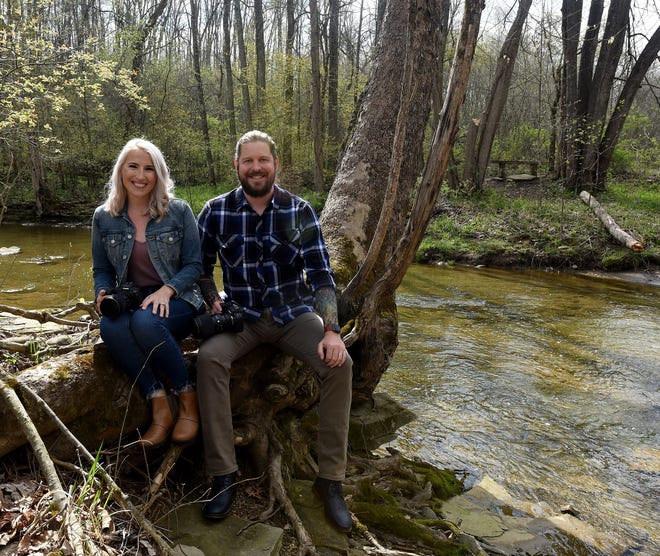 Jess and Chase Butcher in Lobdell Reserve, one of their favorite spots to photograph clients. The two are the husband and wife duo behind Butcher & Co. Photography.