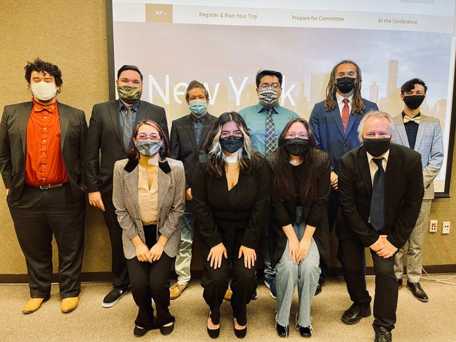 The NMSU Model United Nations Team members participated in the virtual 2021 national conference. Back row from left: Giovanni Cisneros, Omar Ortega, Jay Hernandez, James Madrid, Rakim Stokes and Cole Vetter. Front row from left: Jasmine Recinos, Iliana Viscarra, Citlali Benitez, and Neil Harvey, Model U.N. faculty adviser.