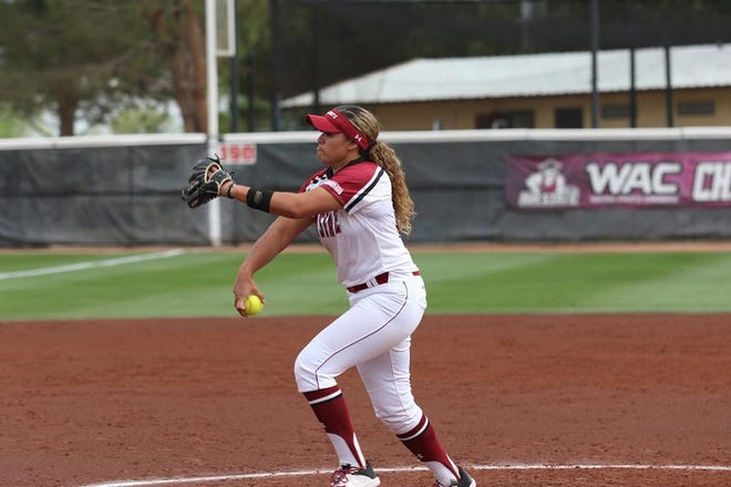 The New Mexico State softball team can win the WAC regular season with a sweep at Cal Baptist this weekend.