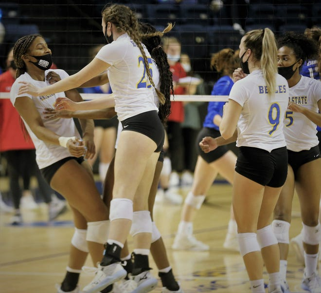 The Angelo State University volleyball team celebrates during a match earlier in the 2021 spring season that was pushed back from the fall due to COVID-19.
