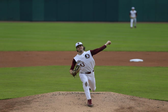 FSU pitcher Bryce Hubbart delivers a pitch to the plate during the Seminoles' game against Boston College on April 17, 2021.