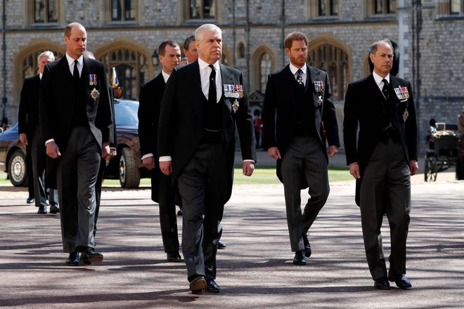 Prince William, Duke of Cambridge, Prince Andrew, Duke of York,  Prince Harry, Duke of Sussex and Prince Edward, Earl of Wessex during the funeral of Prince Philip, Duke of Edinburgh at Windsor Castle on April 17, 2021 in Windsor, England.
