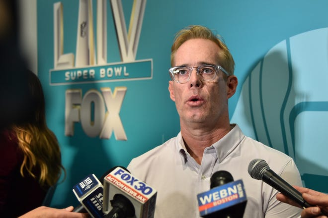 Fox Sports broadcaster Joe Buck speaks with the media during Fox Sports media day for Super Bowl 54 in 2020.