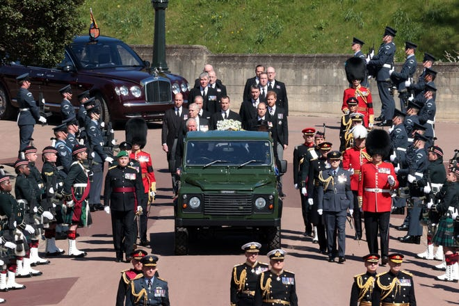 Princess Anne, Princess Royal, Prince Charles, Prince of Wales, Prince Andrew, Duke of York, Prince Edward, Earl of Wessex, Prince William, Duke of Cambridge, Peter Phillips, Prince Harry, Duke of Sussex, Earl of Snowdon David Armstrong-Jones and Vice-Admiral Sir Timothy Laurence follow Prince Philip, Duke of Edinburgh's coffin during the Ceremonial Procession  during the funeral of Prince Philip, Duke of Edinburgh at Windsor Castle on April 17, 2021 in Windsor, England.
