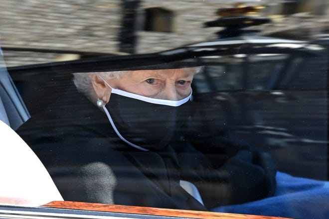 Queen Elizabeth II arrives for the funeral of Prince Philip, Duke of Edinburgh at Windsor Castle