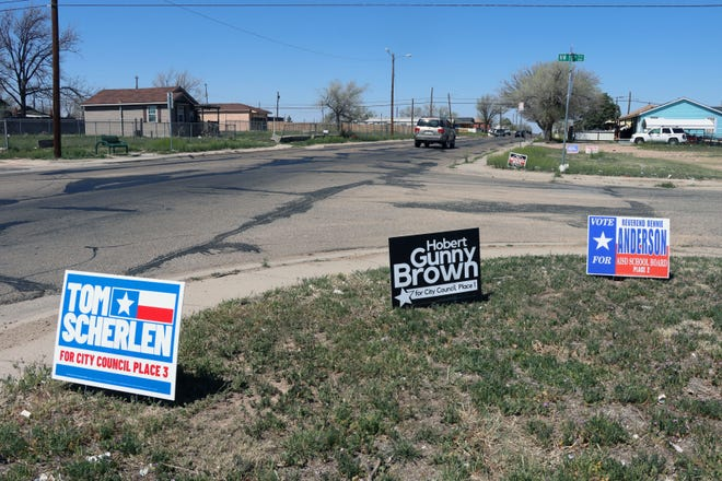 Political signs promoting candidates for various races in the May election are placed throughout the city of Amarillo. Early voting for the May election begins Monday.