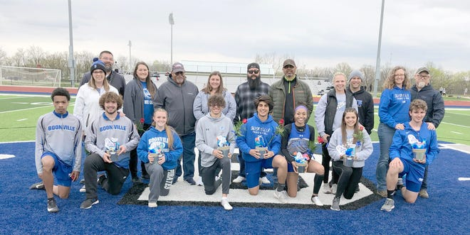 Eighth members of the Boonville boys and girls track teams were honored along with their parents before Friday's Jack McCush Relays at the BHS Sports Complex.  The Boonville Lady Pirates track team wound up finishing sixth in the relays, while the Boonville boys placed eighth overall.
