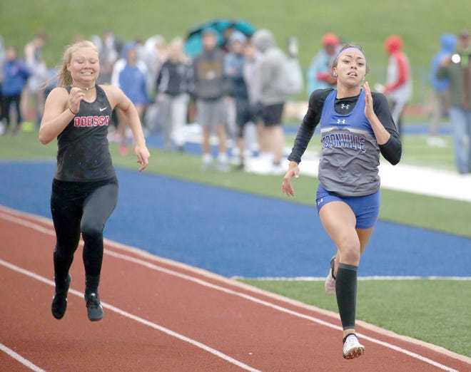 Boonville senior Jodie Bass sprints to the finish line in the 100 meter dash Friday during the annual Jack McCush Relays at the BHS Sports Complex. Bass finished third overall in the 100 in a time of 13.98 seconds.
