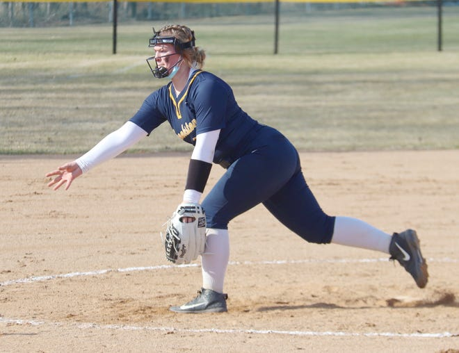 Jenna Coauette delivers a pitch in a game against Blackduck on April 17 in Greenbush. Coauette took the loss in Thursday's game at Grand Forks Central despite going seven innings and striking out five against just two walks.