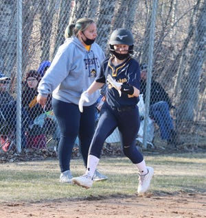 Emily Bowman rounds third base in a game against Blackduck on April 17. Bowman and the Pirates fell to 0-11 after a 15-5 defeat to East Polk on Tuesday.