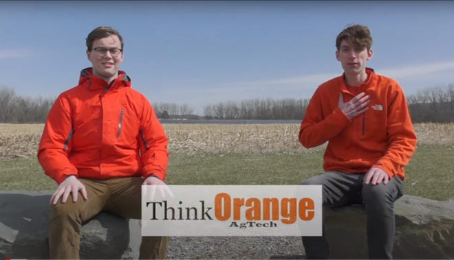 First place winners, Houghton College Team Think Orange AgTech with team members Stephen Harper and Micah Condie.