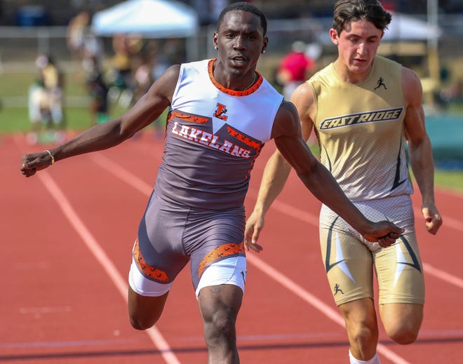 Lakeland senior Tayler Gant wins the boys 100 at the Class 4A, District 5 track and field. He followed up that victory winning the 4A-2 region meet after being seeded in the slow heat.