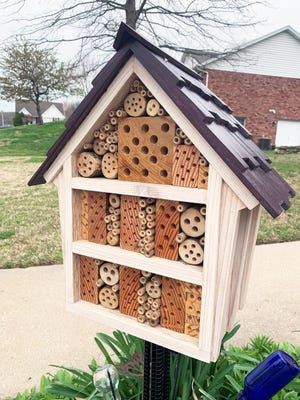 A bee house is a great way to support habitat for solitary bees. Missourians can construct their own bee house by using scrap wood with covered nesting and resting holes.