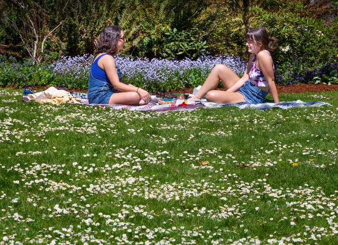 Surrounded by blooming flowers, University of Oregon students Celeste Luppino, left, and Raine Shank enjoy each other's company and a beautiful spring day on the lawn at Hendricks Park Rhododendron Garden in Eugene.