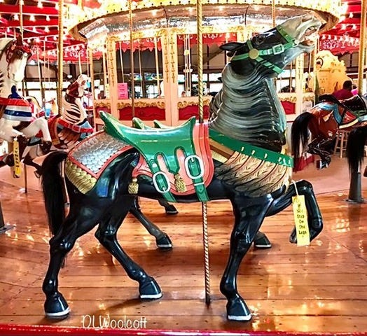 The family of Tracy Stadelman, whose mother Diana was a longtime mayor of Meyers Lake, is helping restore the final three horses on the former Meyers Lake Amusement Park carousel, which now is renamed the Bushnell Park Carousel in Hartford, Conn. The trio of standing horses are to be restored in their original colors, black with pink and green.