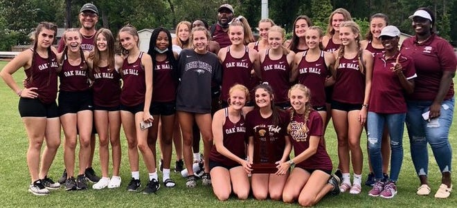 Oak Hall School girls track and field team district champions for 2021.