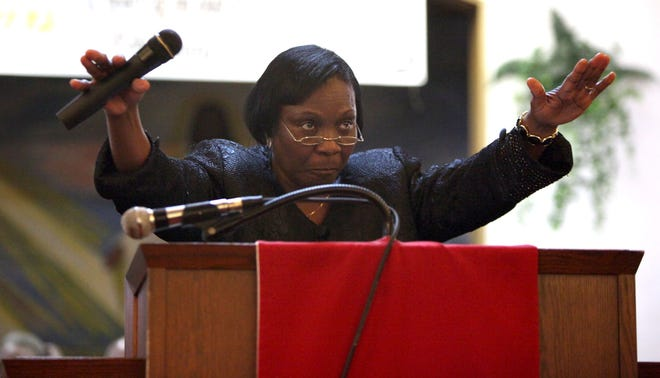 Evangelist Gladys Ellis, a member of Jerusalem Church of God by Faith in Monteocha, is fighting an incurable illness known as Myasthenia Gravis. She is pictured here delivering a sermon in 2013 at an ushers' anniversary service at First Missionary Baptist Church.[File photo by Brad McClenny/Special to The Guardian]