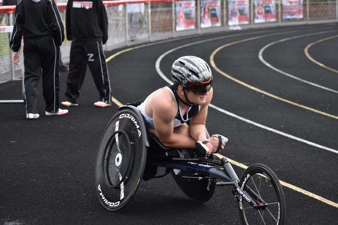 After winning a shot put state title on Friday, Carrollton's Jacob Baker will have his sights set on his seated track races at the OHSAA State Track and Field Championships.