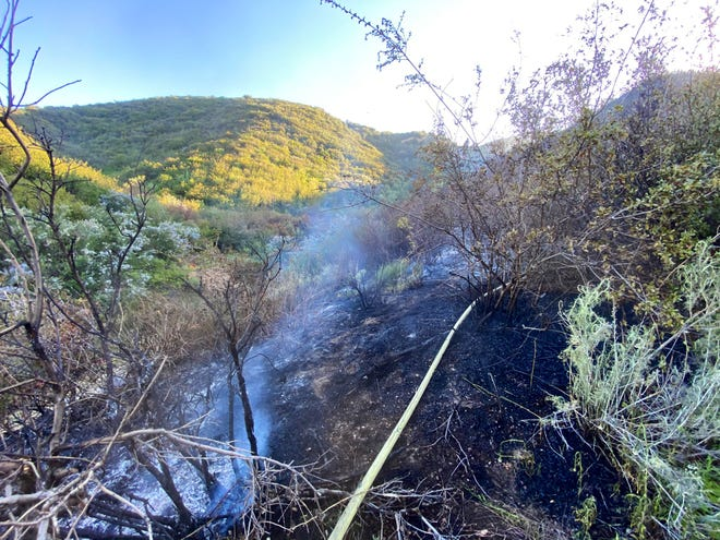 The Sycamore Fire burned approximately 3 acres in the Cajon Pass on Saturday, April 17, 2021, before crews stopped the forward rate of spread.