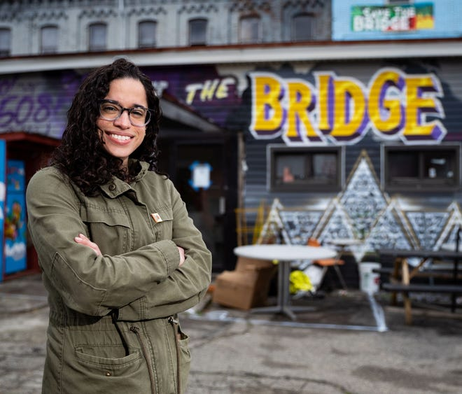 """Yasmin Goris stands outside of """"The Bridge"""" located at 300 Southbridge St., Worcester."""