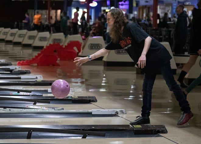 Christina Krafthefer, a participant of the Ross County Community Action peer program, bowls a game at Shawnee Lanes on April 17, 2021.