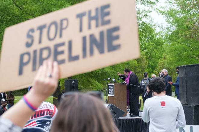 Reverend Dr. William J. Barber II speaks to the attendees of a community rally against the Byhalia Connection pipeline on Sunday, April 18, 2021, in Memphis.