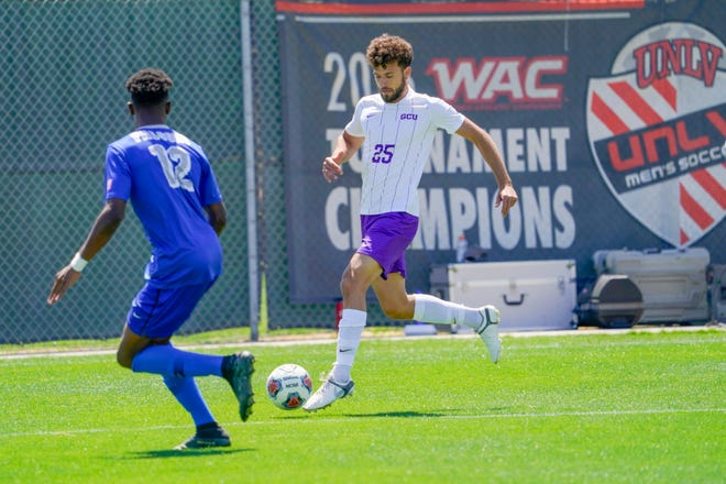 GCU midfielder Marios Andreou tries to make a move on Air Force's London Aghedo during Saturday's WAC championship game. Air Force won 3-0. Photo courtesy of GCU Athletics