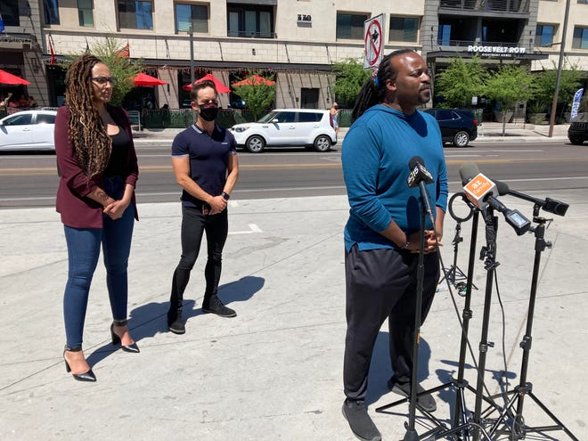 Sarah Tyree, Karrington Valenzuela and Kenneth Smith with the Unity Collective and West Valley NAACP held a press conference on April 17, 2021, at The Golden Margarita to demand an apology for a couple who said they were attacked at the restaurant on April 12, 2021, for being gay.