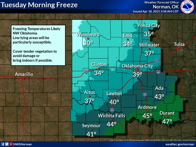 Overnight freeze possible Tuesday