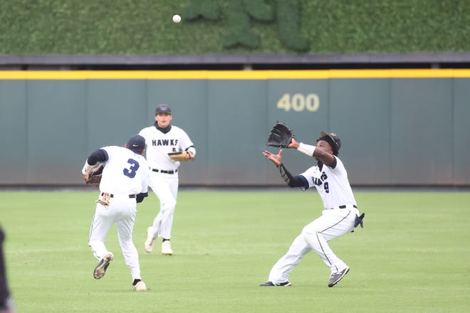 Hendrickson outfielder Jasiya Demps makes a play in a win over Weiss April 17 at Dell Diamond. Demps, a senior outfielder, had three doubles, a walk and six RBI to help the Hawks to a sweep of Weiss.