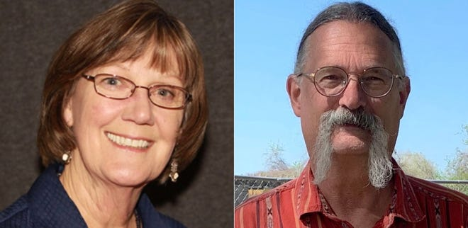 Incumbent  Joanna Morgan (left) and challenger Jerry Callaghan are vying for the mayor's office after Scott Saunders resigned earlier this year. Election day is May 1.