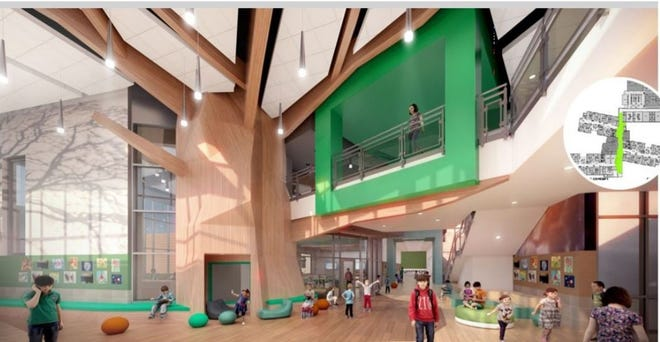 The name Redbud Elementary partly refers to the tree design elements of the new school.
