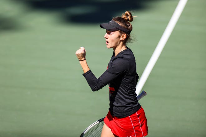 Georgia tennis player Katarina Jokic during a match against South Carolina at the Dan Magill Tennis Complex in Athens, Ga., on Sunday, March 7, 2021. (Photo by Tony Walsh)