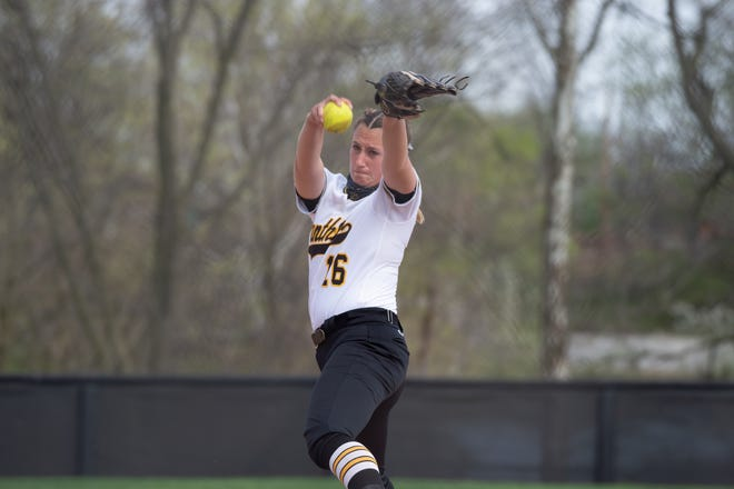 Ohio Dominican's Sydney Long lets loose a pitch during a game this season.