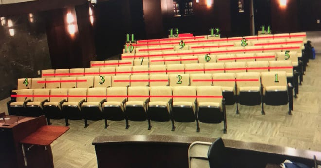 A photo illustration shows where seats will be available when the Augusta Commission resumes in-person meetings.