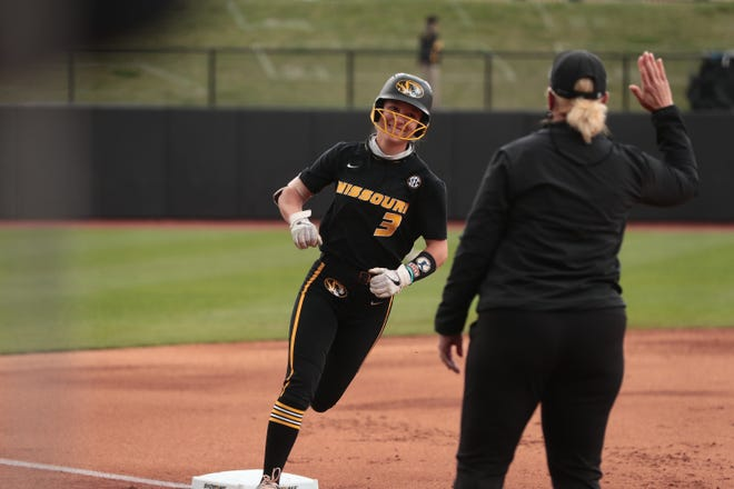 Missouri's Jenna Laird (3) rounds third base after hitting a home run during a game against Mississippi State on Saturday at Mizzou Softball Stadium.