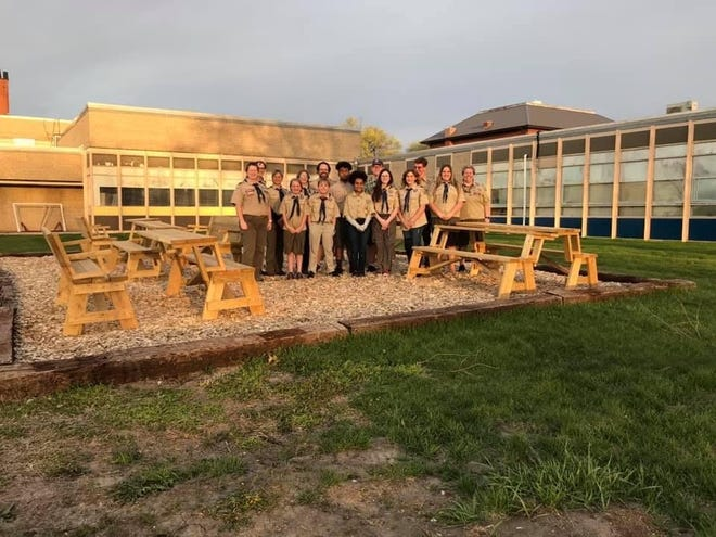 A new outdoor learning area was created for Bishop Hogan Memorial School by the Boy Scouts of America Scout Troop 1857.