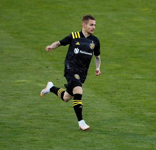 Crew midfielder Alex Matan enters the match against the Philadelphia Union on April 18. Matan playedtwo minutes, plus four minutes of stoppage time, just one day after he joined the team for his first training session.