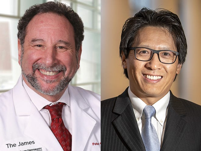 A new Ohio State study seeks to evaluate how COVID-19 impacts the immune system of cancer patients. Dr. Peter Shields, deputy director of the Ohio State University Comprehensive Cancer Center, left, and Dr. Zihai Li, director of the Pelotonia Institute for Immuno-Oncology at the OSUCCC, are leading the study.